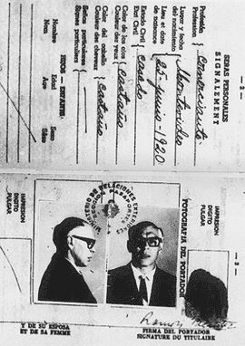 Che Guevara's disguise as Adolfo Mena Gonzalez on arrival in Bolivia